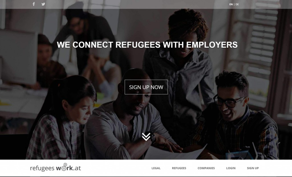 Screenshot von Refugeeswork.at