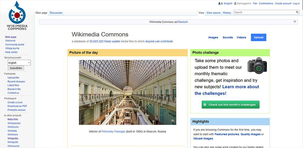 Lizenzfreie Bilder bei Wikicommons